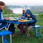 Family and Bakota spring view (Ukraine) — Stock Photo #31399643