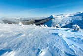 Winter mountain landscape with snowy trees — Стоковое фото