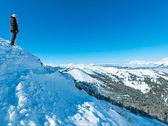 Mujer en la cima de la montaña de invierno — Foto de Stock