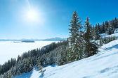 Molnigt berg vinterlandskap — Stockfoto