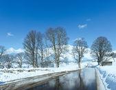 весна дорога через альпийская деревня в австрии. — Стоковое фото