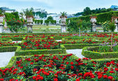 Summer garden with rose flowerbed (Salzburg, Austria) — Stock Photo