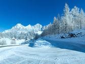 Sabah kış dağ yolu. — Stok fotoğraf