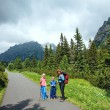 Family and High Tatras (Slovakia) summer view. — Stock Photo