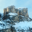 Morning winter Gardena Pass  in Dolomites of South Tyrol, Italy. — Stock Photo