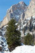 Paisaje de invierno hermosa montaña rocosa. — Foto de Stock