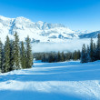 Cloudy winter mountain landscape (Austria) — Stock Photo