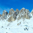 Morning winter Gardena Pass panorama with ski station (Italy). A — Stock Photo