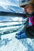 Winter Dachstein mountain massif view through the glass flooring — Stock Photo