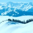 Cloudy sunny winter mountain landscape — Stock Photo