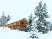 Wood house in winter misty mountain — Photo