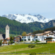 Summer Alpine village view (Italy) — Stock Photo