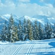Winter mountain landscape and ski slope (Papageno bahn, Austria) — Stock Photo