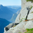 Stock Photo: Family on Preikestolen massive cliff top (Norway)