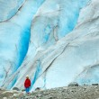 图库照片: Girl near Nigardsbreen glacier (Norway)