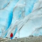 Girl near Nigardsbreen glacier (Norway) — Photo