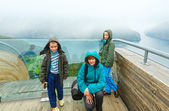 Family on Stegastein Viewpoint (Aurland, Norway) — Stock Photo