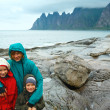 Stock Photo: Family near summer Senja coast (Jagged Ersfjord, Norway, polar d