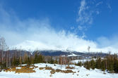 Morning winter mountain landscape (Tatranska Lomnica, Slovakia) — Stockfoto