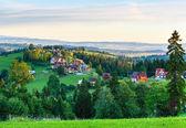 Summer morning mountain village view (Poland) — Stock Photo