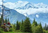 Mont Blanc mountain massif (view from Plaine Joux outskirts) and — Stockfoto