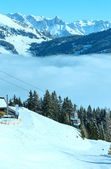 Winter sunny mountain and ski lift — Foto Stock
