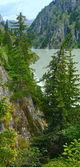 Summer mountain canyon and dam (Alps, Switzerland) — Stock fotografie