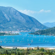 Many sailing vessels in bay (Nydri, Lefkada, Greece) — Stock Photo