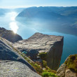 Foto Stock: Preikestolen massive cliff top (Norway)