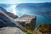 Preikestolen massive cliff top (Norway) — Stock Photo