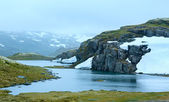 Summer mountain with lake and snow (Norway) — Stock Photo