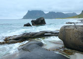 Haukland beach summer view (Norway, Lofoten). — Foto Stock