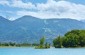 Lake Passy and Mont Blanc mountain massif summer view. — Stock Photo