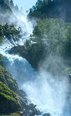 Summer Latefossen waterfall on mountain slope (Norway). — Stockfoto