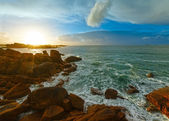 Ploumanach coast sunset view (Brittany, France) — Stock Photo