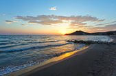 Sunrise on beach (Alykes, Zakynthos, Greece) — Stock Photo
