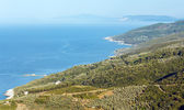 Aegean Sea coastline (near Mylopotamos beach, Greece). — Stock Photo