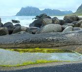 Haukland beach summer view (Norway, Lofoten). — Stockfoto