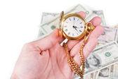 Mano, tiempo y dinero — Foto de Stock