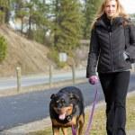 Woman walking the dog — Stock Photo #22198209