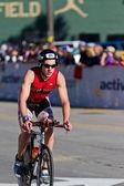 John Heinlein III in the Coeur d' Alene Ironman cycling event — Foto Stock