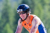 Steve Oberbroeckling in the Coeur d' Alene Ironman cycling event — Stock Photo