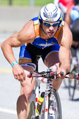 Nathan Birdsall in the Coeur d' Alene Ironman cycling event — Stock Photo
