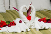 Swan towels — Stock Photo