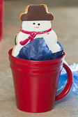 Snow man cookie — Stock Photo