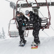 Couple snowboarding — Stock Photo