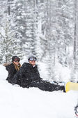 Snowboarding coulple — Stock Photo