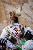 Native American performer with motion blur  — Photo