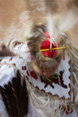 Native American performer with motion blur  — Stock Photo