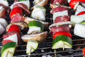 Meat and vegetable skewers — Stock Photo